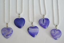 PURPLE ONYX HEALING CRYSTAL GEMSTONE HEART PENDANT 925 STERLING SILVER NECKLACE
