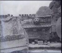 LIBAN Baalbek Ruines Temple Lion Archéologie, NEGATIF Photo Stereo Plaque Verre
