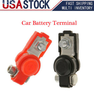 2x Car Battery Terminal Ends Clamp Clips Connector Positive Negative Adjustable