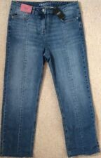 NEXT BLUE CROP HIGH RISE SEAM JEANS RAW HEM SIZE 12 REGULAR BRAND NEW WITH TAGS