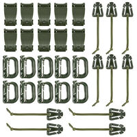 30 Pcs Army Green Strap Management Tool Buckle Set for Molle Backpack D-Ring
