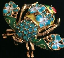 JOAN RIVERS TEAL GREEN FLOWER LADYBUG BUMBLE BEE INSECT BUG PIN BROOCH JEWELRY