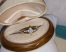 Ross Simons 14k Yellow Gold vermeil sterling silver marquise cz engagement ring
