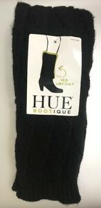 NWT HUE BOOTIQUE WOMEN'S BLACK CABLE CHUNKY LEG WARMER ONE SIZE FITS ALL- 1 PAIR
