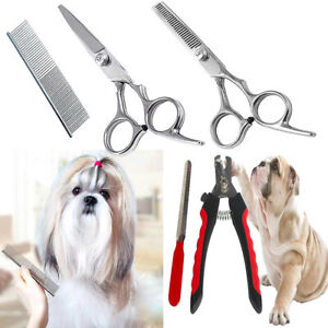 Pet Dog Cat Hair Nail Grooming Comb Clippers Scissors Claw Cutters Trimmer Tools