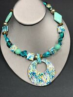 """Vintage Erica Lyons Blue Beaded Blister Pearl MOP Strand  Statement Necklace 16"""""""