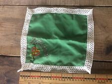 Cloth Embroidered Hankie Bethlehem Green And White Lace Style Border