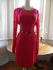 WISH BNWT CURRENT $160 LONG SLEEVE RED BELTED SMART CORPORATE OR OCCASION DRESS