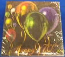 Balloon Celebration Adult Black Birthday Party Luncheon Napkins - Happy 70th