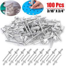 100pcs 34 Large Flange Pop Rivets Aluminum Body Steel Mandrel Dome Head Blind