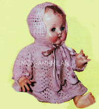 """50's Knitting Pattern DOLLY BABY DOLLS CLOTHES, LACY DRESS,JACKET,BONNET 10-16"""""""