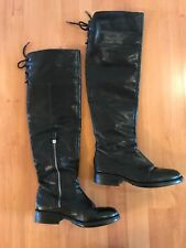 Vince Camuto Over-The-Knee Rear Lace Boots Tall Black Leather- Sz 6.5 M