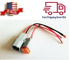 "16 AWG Assembled Deutsch 2 Pin waterproof connector 6"" wire"