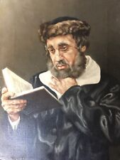 Rabbi Reading ori oil canvas signed by artist a Dackey70 12x16