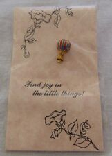 Hot Air Balloon Pin Brooch 24K Gold Finish The Baroness Collection Red and Blue