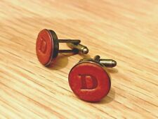 Leather cufflinks, personalised gift for him, Leather 3rd Anniversary Gift