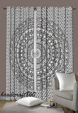 Urban Elephant Mandala Curtains Set Decorative Indian Tapestry Tab Top Curtains