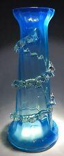 Antique Late 19th Century Hand Blown Electric Blue Vaseline Glass Vase
