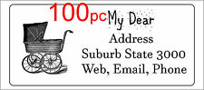 100 Personalised return address label custom mailing sticker 56x25mm baby buggy