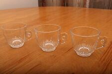 3 Vintage Clear Glass Punch Glasses With Steppy Handles