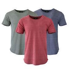3 Pack Lot Mix Men's Plain Hip Hop Long Line Short Sleeve T-Shirts Pocket Tees
