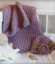 Knitting Pattern -Baby Lace Blanket & Pull on Flower Trim Hat (P0150)