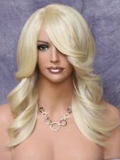 Feather Side Human Hair Blend Back Straight Wig w. Bangs PALE BLONDE yna 613