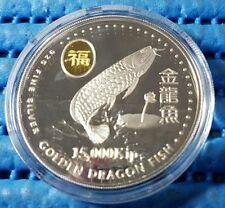 2000 Laos 15,000 KIP Golden Dragon Fish Silver Proof Coin