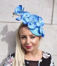 Cornflower Blue Orchid Flower Fascinator Hat Pillbox Wedding Races Vintage 3094