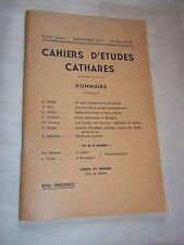 ROCHE (Déodat) (dir.) CAHIERS D ETUDES CATHARES. N° 53 (1972) CATHARISME