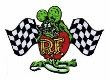Hot Rod Patch RAT FINK Badge Checkered Flag Drag race Ed Big Daddy Roth Iron On