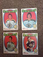 1971-72 O-Pee-Chee 4 Boston Bruins Hockey Cards #172 Ed Johnston,& 115,173,171