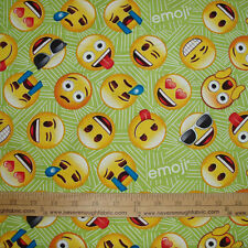 Cotton Fabric EMOJI'S on green Emotions Faces Happy Wink Love Cry  BTY
