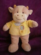 Doudou vache ecru marron jaune montgolfiere GIPSY