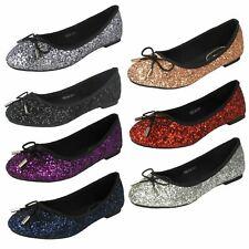 Ladies Anne Michelle Glittery Ballerina Shoes