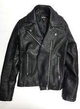 TOPSHOP Womens Synthetic Leather Jacket in Black Size 4 ++BEST CONDITION++