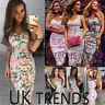 UK Women Floral Print Bodycon Vintage Holiday Ladies Summer Beach Midi Sun Dress