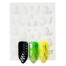 Silver leaves nail stickers water transfer slide nail art decals