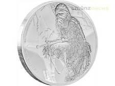 2 $dólares Star Wars la Guerra de las galaxias Chewbacca Niue Island 1oz plata 2017