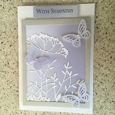 Handmade Sympathy Card butterfly & flowers shades of blue lilac condolence
