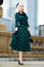 Voodoo Vixen Chicago Chic Blog Lola Tartan Flare Dress With Fur Collar DRA8291