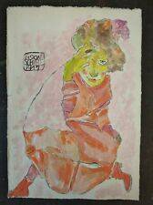EGON SHIELE    DRAWING WATERCOLOR SIGNED ON  OLD PAPER OF THE 900e