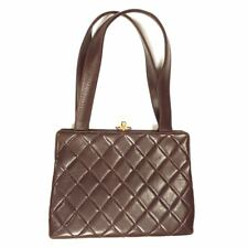 Vintage CHANEL Brown Diamond Quilted Lambskin Frame Bag