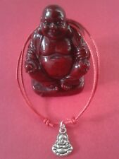 Laughing Buddha Charm/Red Waxed Cotton Adjustable Bracelet