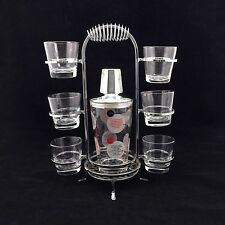 """Recipe"" Glass Cocktail Shaker Bar Set with Silver Chrome Caddy Holder"
