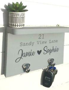 Personalised Key Holder/Key Hook with shelf/Wedding Gift/Gift for couple/hishers