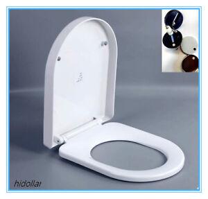 SQUARE D-SHAPE SOFT CLOSE SOFT-CLOSE TOILET SEAT WHITE HINGES QUICK RELEASE