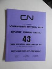 1970 Canadian National Railways Employee Timetable 43 Great Lakes Region
