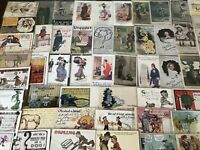 BIG ~LOT OF 82~1900s VINTAGE~COMIC  funny~ HUMOR POSTCARDS-All In Sleeves-h342