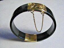 Vintage Estate 14K Gold Black Jade Hinged Bangle Bracelet